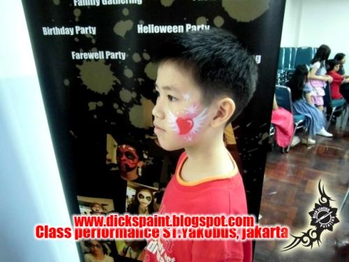 face painting heart , graduation, st yakobus, jakarta 1