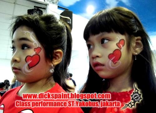 face painting heart , graduation, st yakobus, jakarta